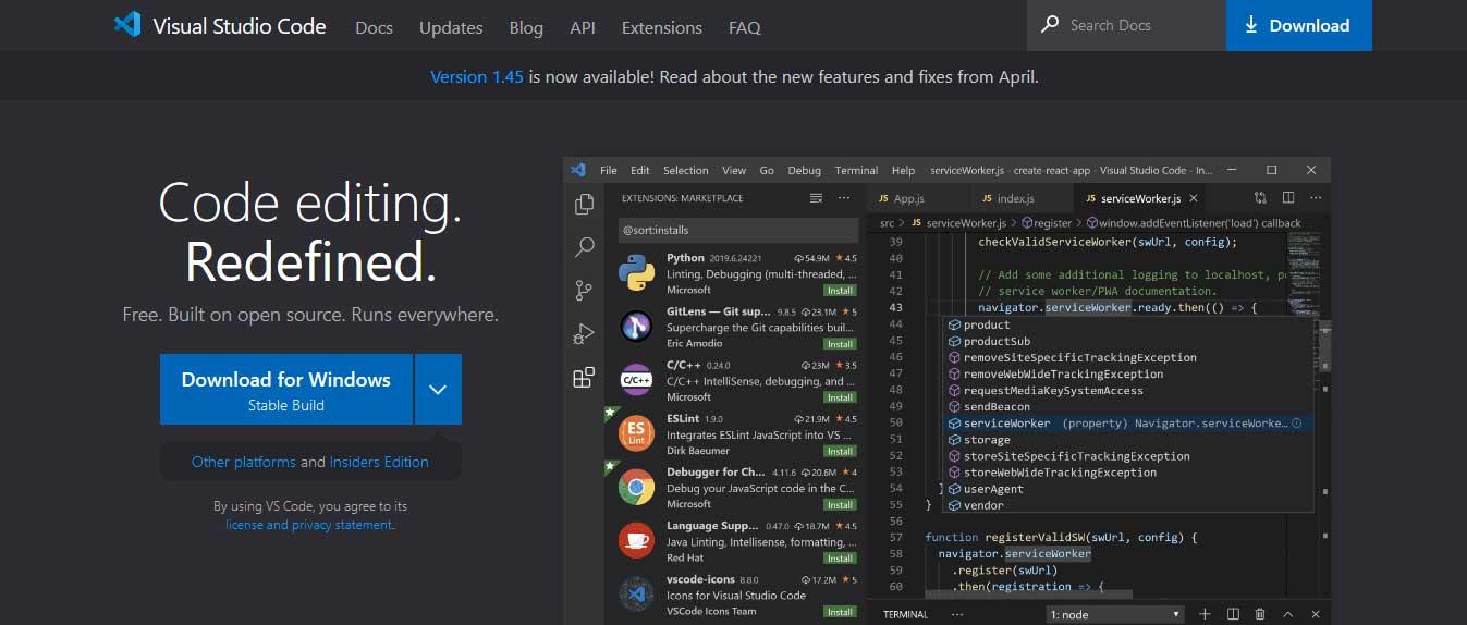 visual studio de code : éditeurs de code gratuits